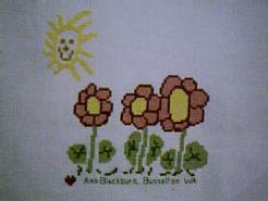 Cross stitch square for Flowers & Bugs E01's quilt