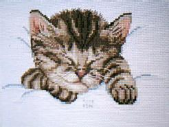 Cross stitch square for (QUILTED) Cats & Kittens E01's quilt