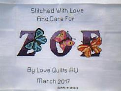 Cross stitch square for Zoe L's quilt