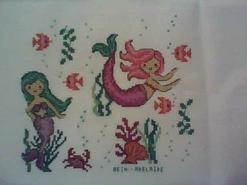 Cross stitch square for Mermaid & Unicorn Stitch-a-long's quilt