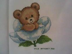 Cross stitch square for Teddy bear Stitch-A-Long's quilt