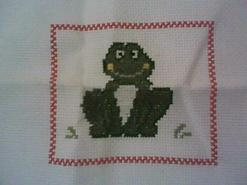Cross stitch square for Tyrion  M's quilt